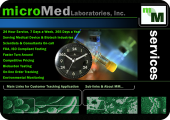 preliminary design work for MicroMed lab services web site redesign