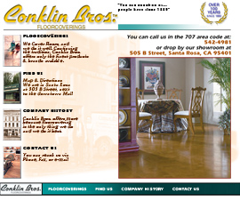 conklin web site design work from 1999 using tables